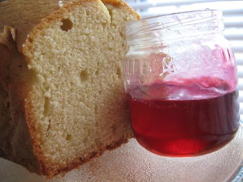 raspberry mint syrup w poundcake
