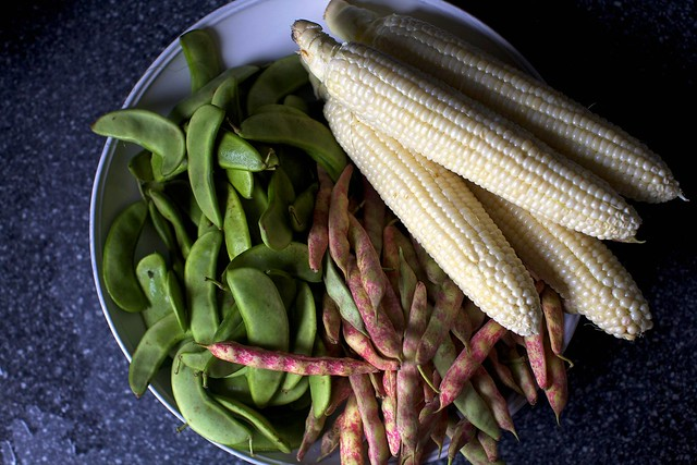 corn, limas and cranberry beans