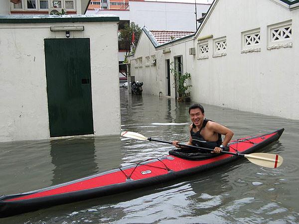 """Look mom! I can canoe on the street!"""