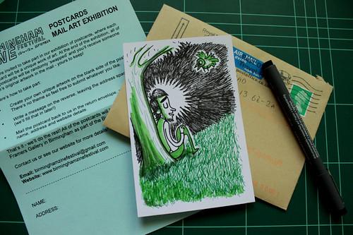 Postal para exposición de mail art en Birmingham