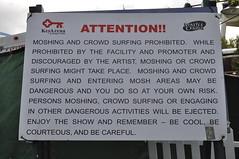 No moshing sign, Bumbershoot 2010