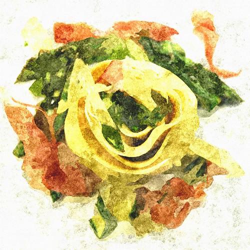 Canneloni gefüllt mit grünem Spargel