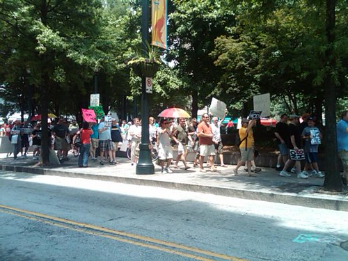 Equality supporters in Atlanta GA marching to the statehouse