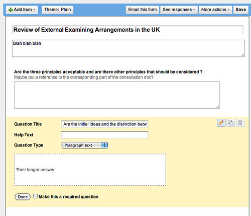Creating a google form to field consultation question replies