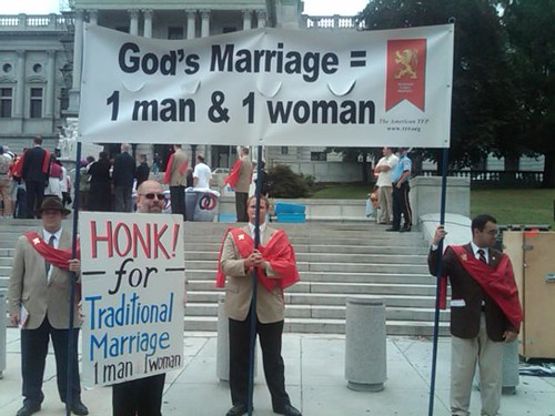 """HONK for """"Traditional Marriage"""" signs among NOM supporters"""
