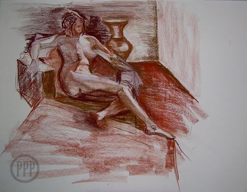 20 min Life drawing, Conté on BFK