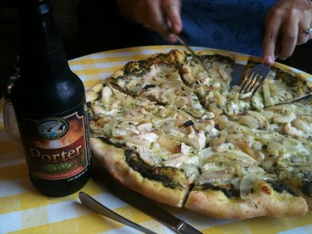 Organic pizza and organic beer
