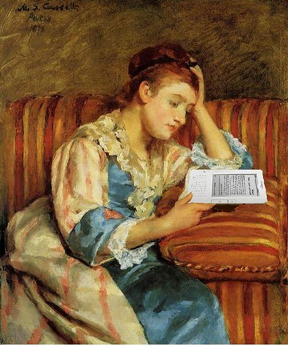 Mrs. Duffee Seated on a Striped Sofa, Reading Her Kindle, After Mary Cassatt