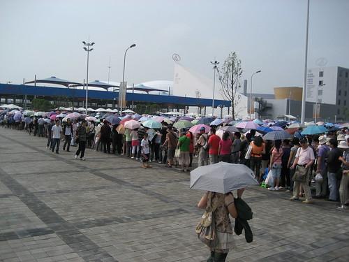 Line up on a rainy day