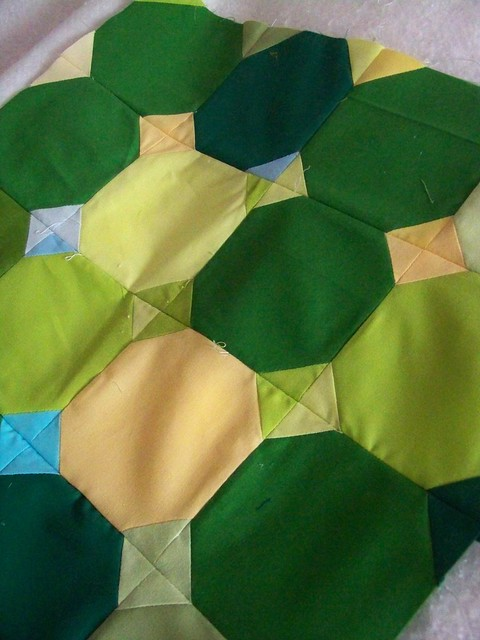 mini quilt work in progress green and yellow solids