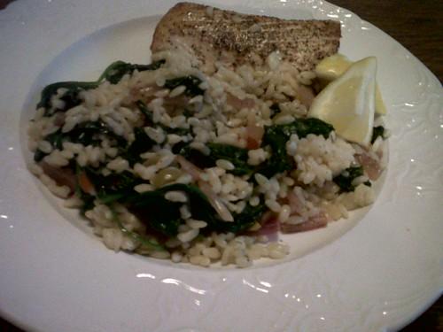 Mahi Mahi w/ Olives, Spinach and Orzo