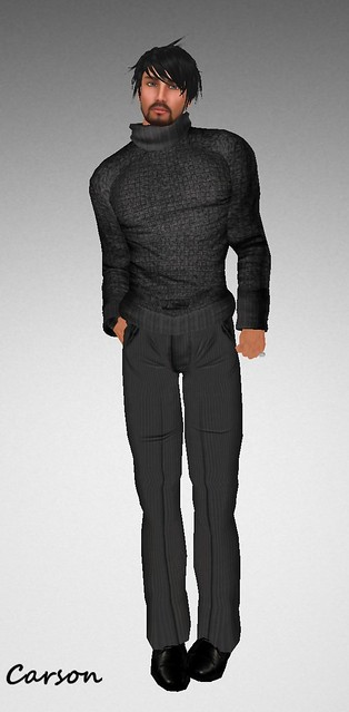 BalAni Black Knit Turtleneck and Pinstriped Pants MHOH4