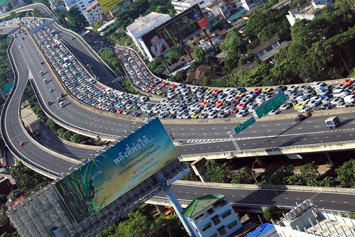 Highway traffic jam in Bangkok
