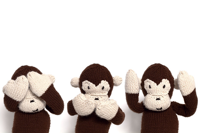 Three Wise Monkeys (knitted)
