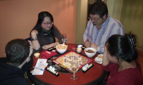 playing Scrabble Trickster boardgame