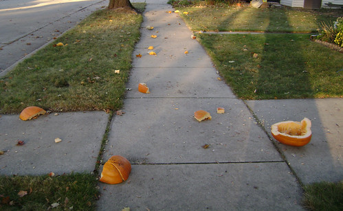 someone smashed our pumpkins