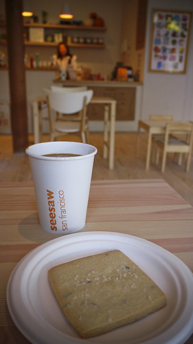 coffee and shortbread cookies at Seesaw Cafe, Octavia Street, hayes valley