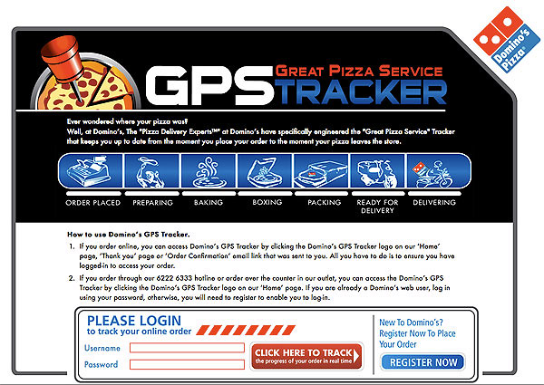GPS Tracker for your pizza order!