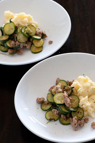 zucchini, bangers & mash