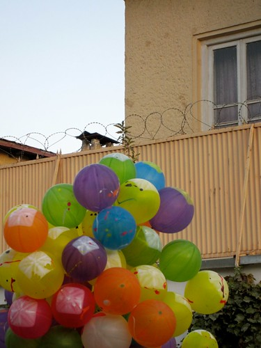 Razor wire and balloons