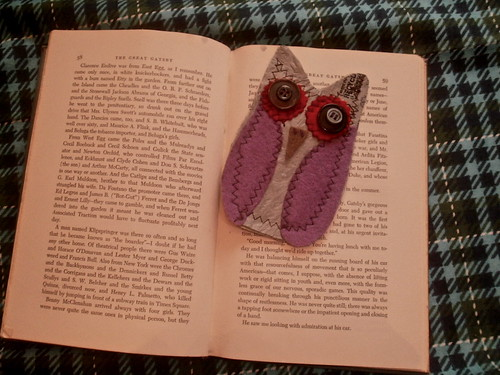 fused plastic + felt owl bookmark