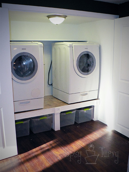 washer and dryer on laundry shelf