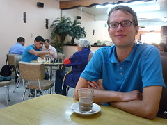 In unserem Lieblingscafe, wo man sich zum Schachspiel trifft (San Cristobal)