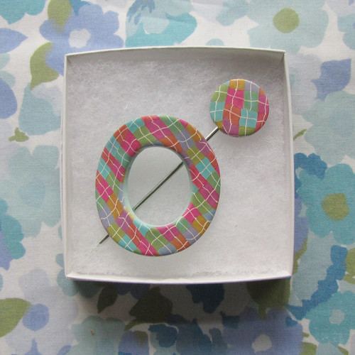 Plaid polymer clay shawl pin