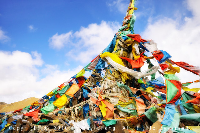 Tibetan Prayer Flags, Litang, Sichuan Province, China.