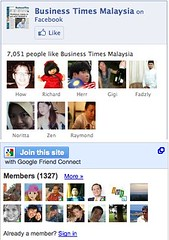 Google Friend Connect on Business Times