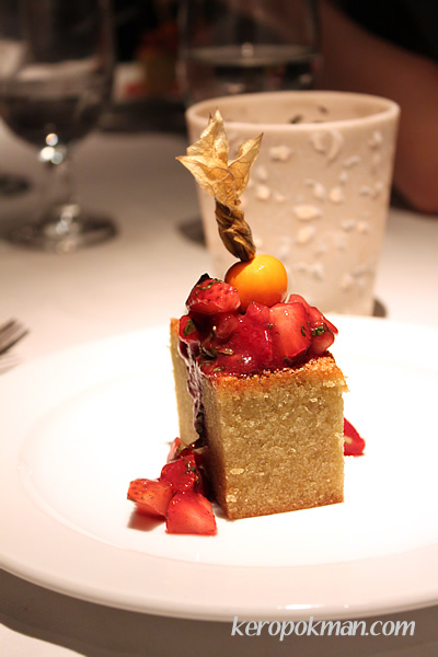 Pistachio Financier with strawberry salsa and mint