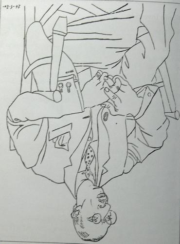 Igor Stravinsky dibujado por Pablo Picaso (puesto al reves adrede)