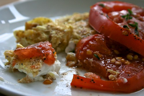 Sweet Corn & Goat Cheese Omelet with Oven Roasted Tomatoes