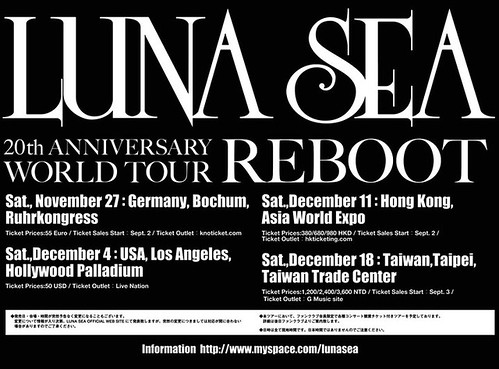 Luna Sea Reboot tour schedule