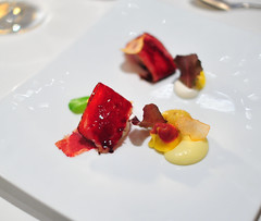 """Vegetable 6th Course: Hand-Rolled Beet """"Tortellini"""""""