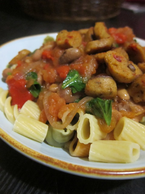 Pasta with sausage, borlotti beans, and all kinds of veggies