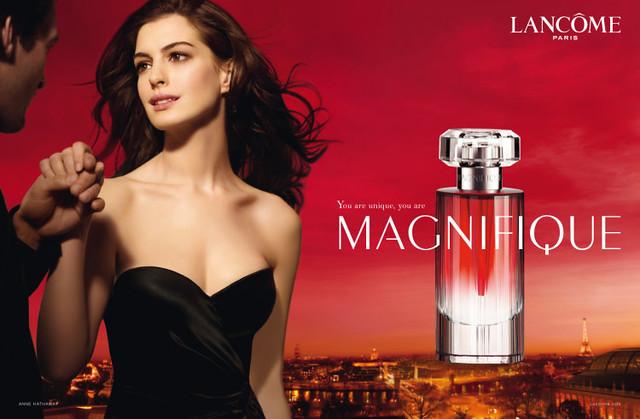 由安海瑟薇代言的Lancôme蘭蔻的「燦爛 Magnifique」香水。