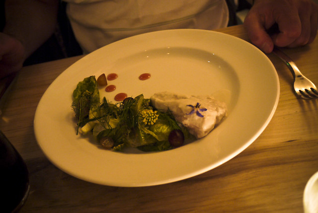 coconut milk poached halibut, sea beans, grapes, little gem lettuce, thai spices