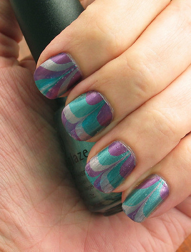 My first water marbling manicure (left)