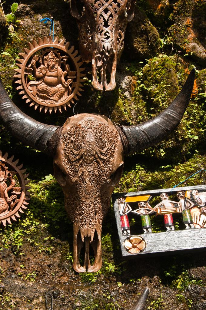 Carved cow skull at Gunung Kawi