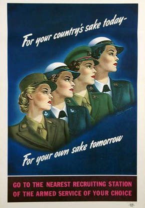 WW2 Poster Ladies Armed Services Recruiting