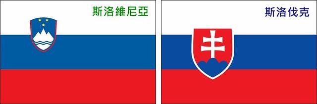 Slovenia的國旗 vs. Slovakia的國旗。