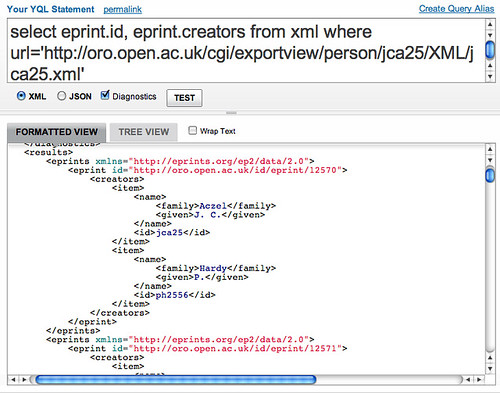 Querying eprints xml from Yql developer console