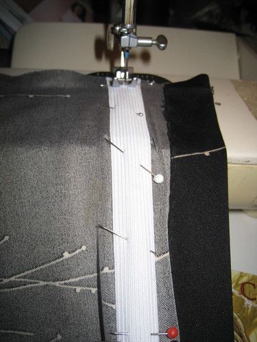 ruching pull taut while stitching