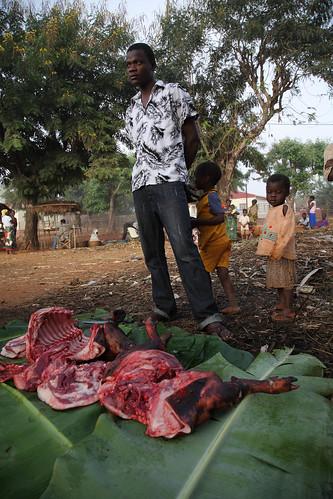 Village pork seller in Mozambique