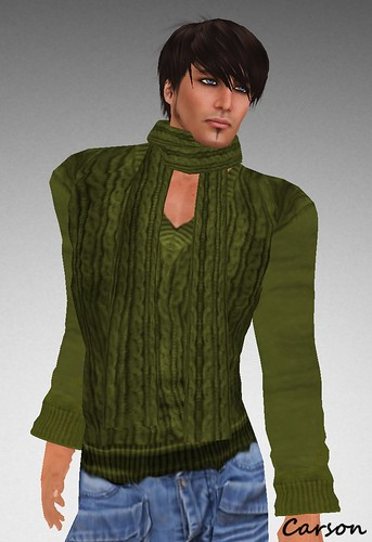 sf design cable vneck and scarf green mens