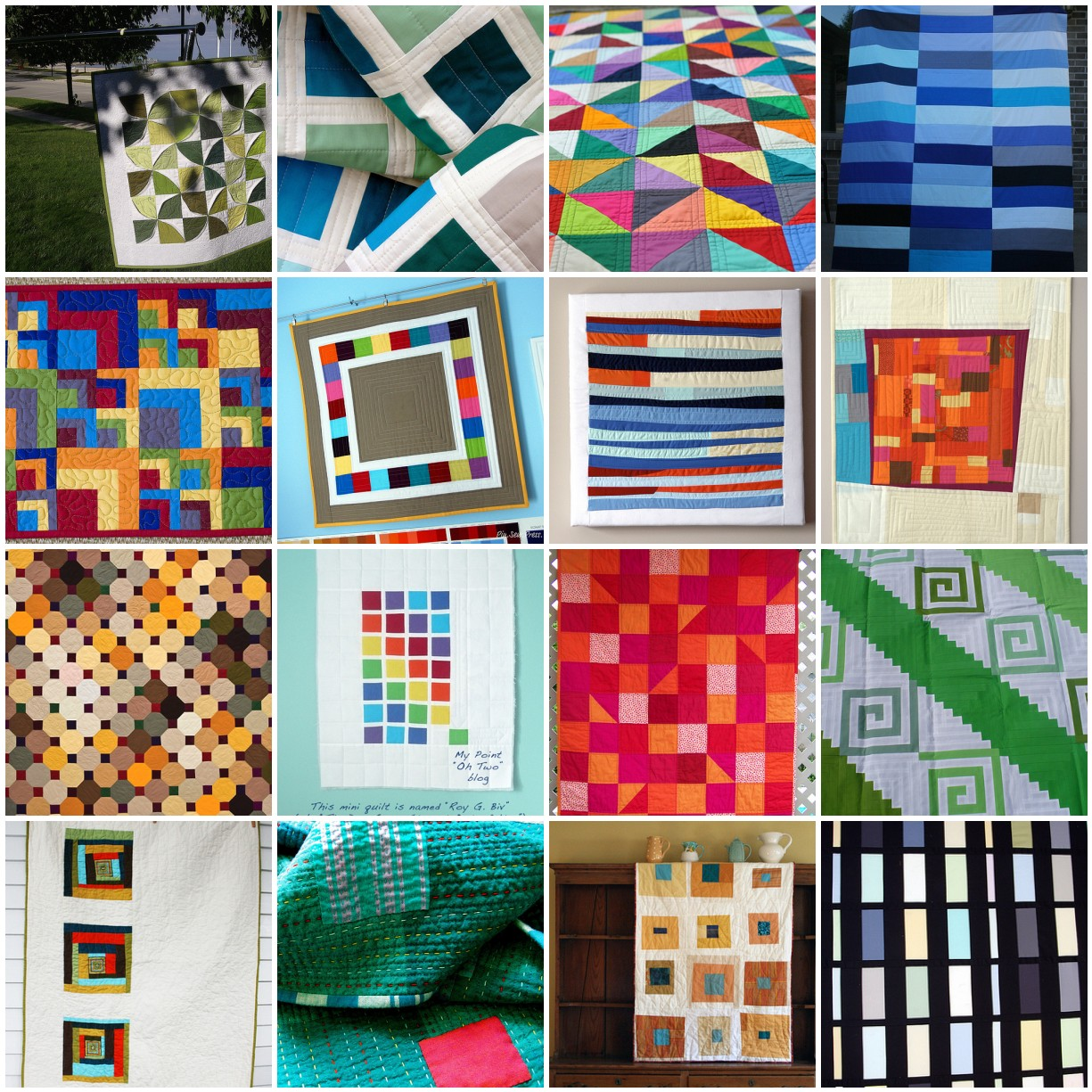mosaic of modern quilts with solid fabric