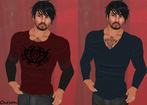 MHOH4 # 150 - Genesis Inc-Red Mesh Shirt and ark Blue Ribbed Sweater