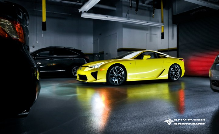 yellow Lexus LFA in the training center