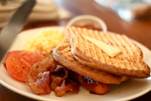 big breakfast. fantastic strawbri jam hidden behind